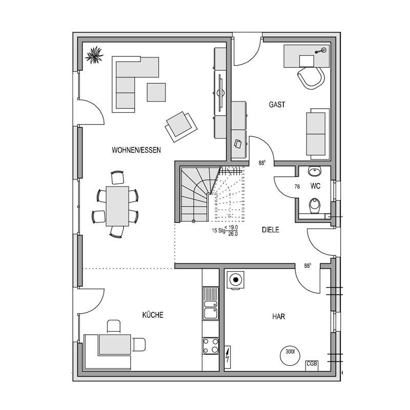 Erdgeschoss Grundriss des Vialla 191