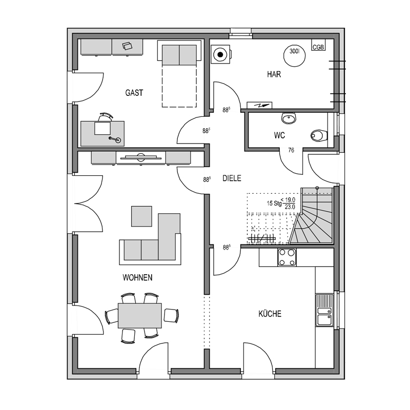 Erdgeschoss Grundriss des Cubus 165 Var.1