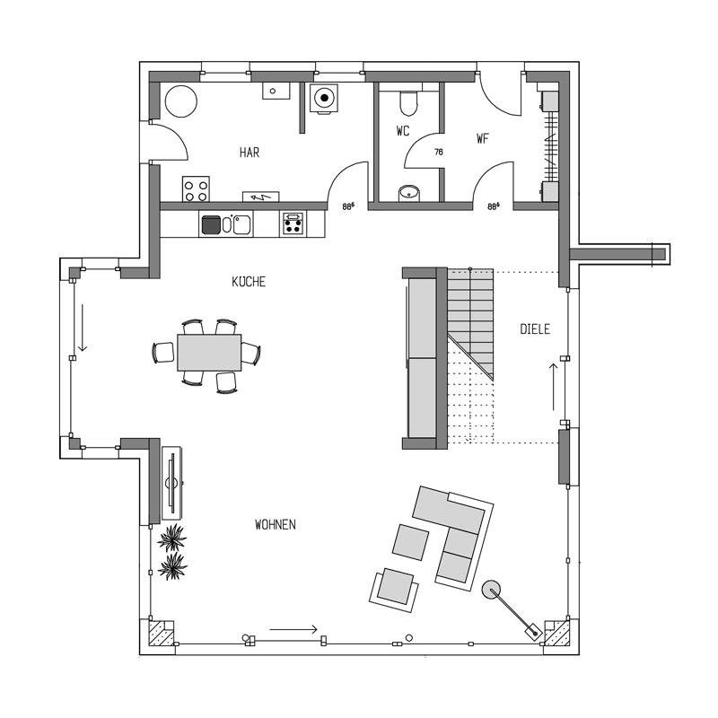 Erdgeschoss Grundriss des Cubus 244