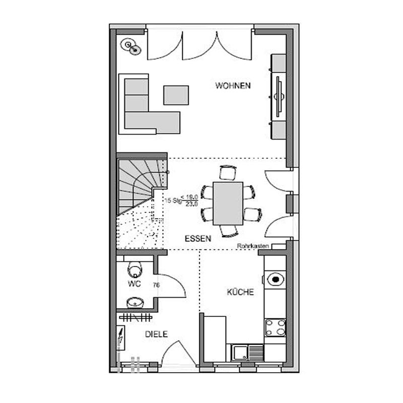 Erdgeschoss Grundriss des Duo 140