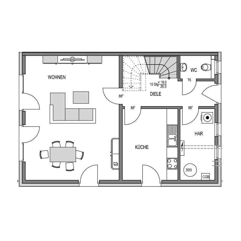 Erdgeschoss Grundriss des Duo 127