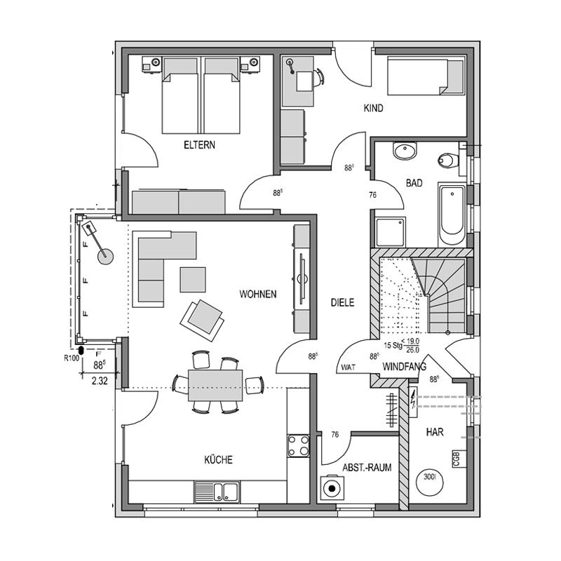 Der Grundriss Erdgeschoss des Duo 189 zeigt die interessante Raumaufteilung.