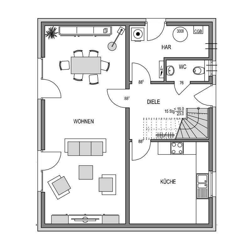Erdgeschoss Grundriss des Vialla 136