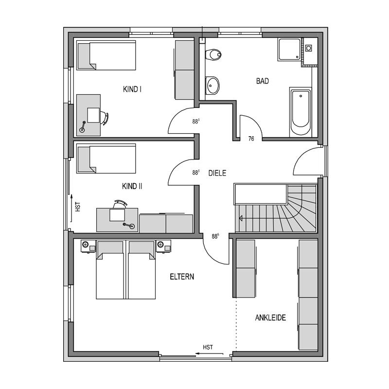 Obergeschoss Grundriss des Cubus 165
