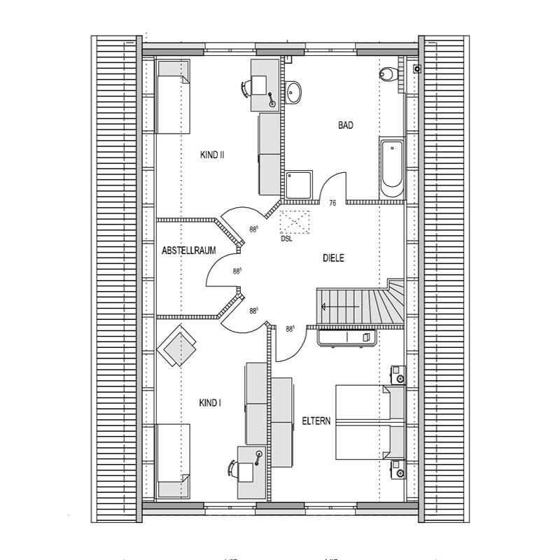 Obergeschoss Grundriss des Vialla 187