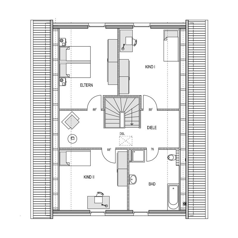Obergeschoss Grundriss des Vialla 191