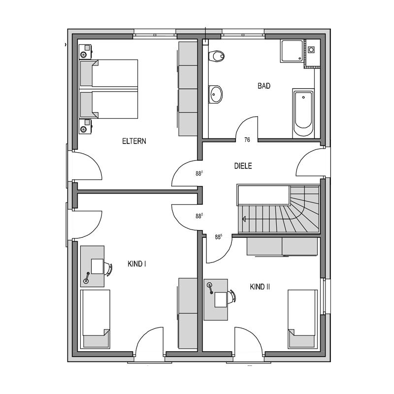 Obergeschoss Grundriss des Cubus 165 Var.1