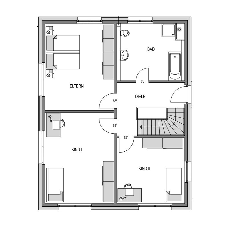 Obergeschoss Grundriss des Cubus 166