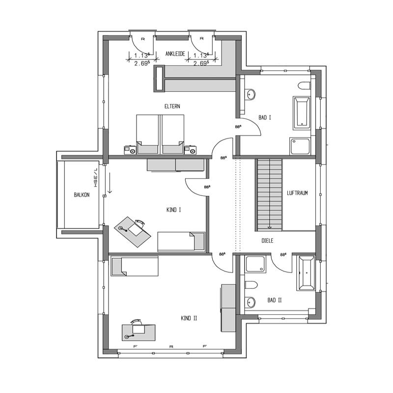 Obergeschoss Grundriss des Cubus 244