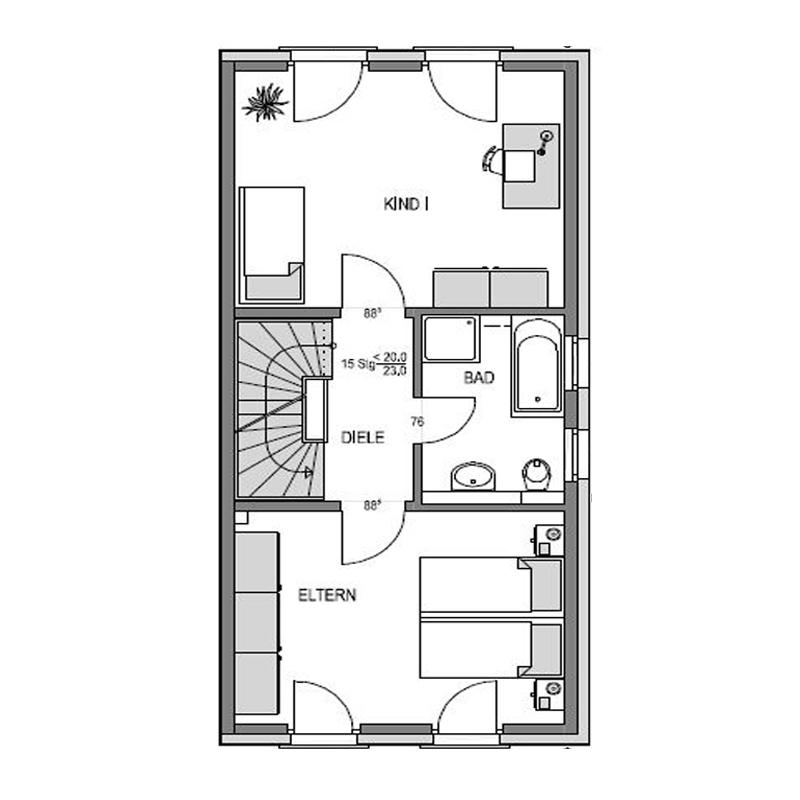 Obergeschoss Grundriss des Duo 140