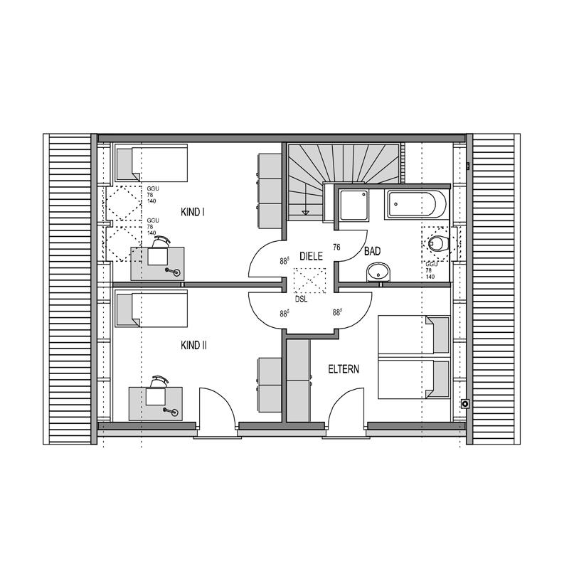 Obergeschoss Grundriss des Duo 127