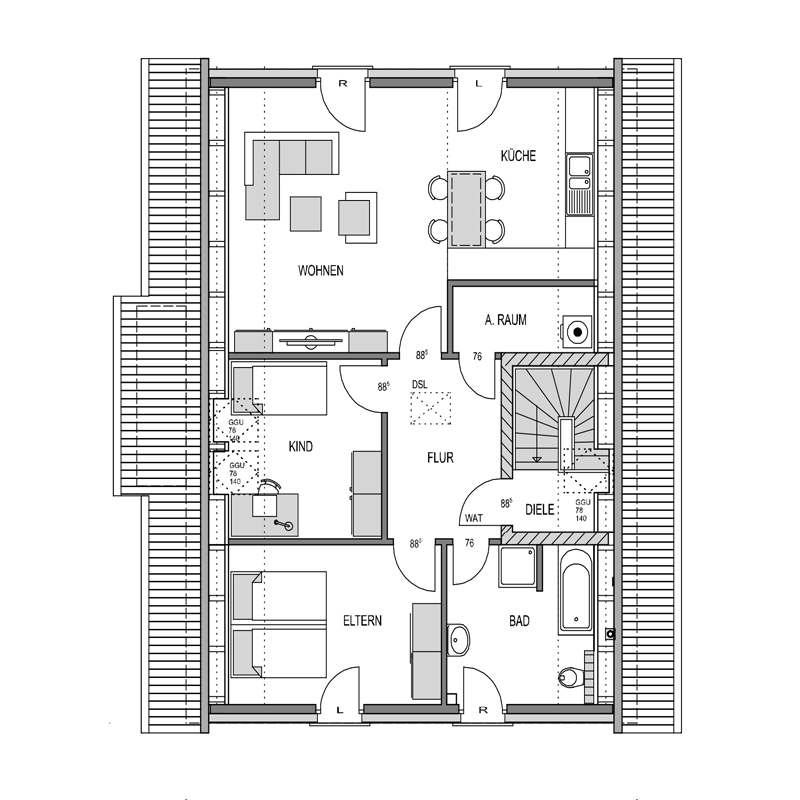 Der Grundriss Obergeschoss des Duo 189.