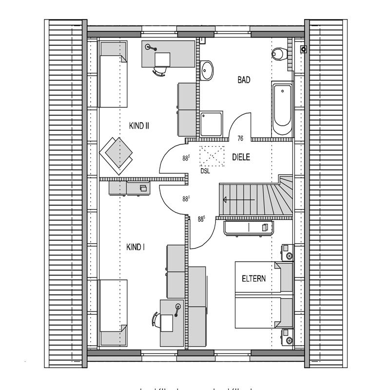 Obergeschoss Grundriss des Vialla 136