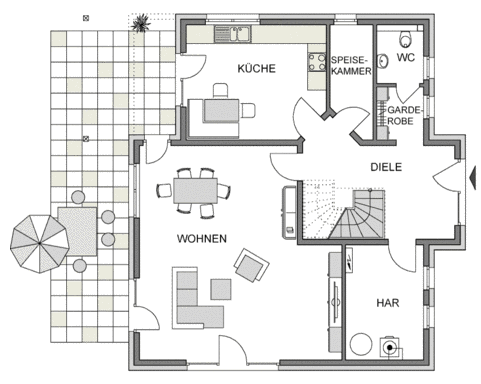 Erdgeschoss Grundriss des Vialla 189
