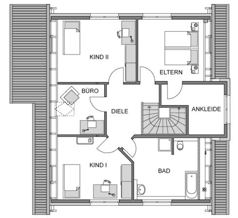 Obergeschoss Grundriss des Vialla 189