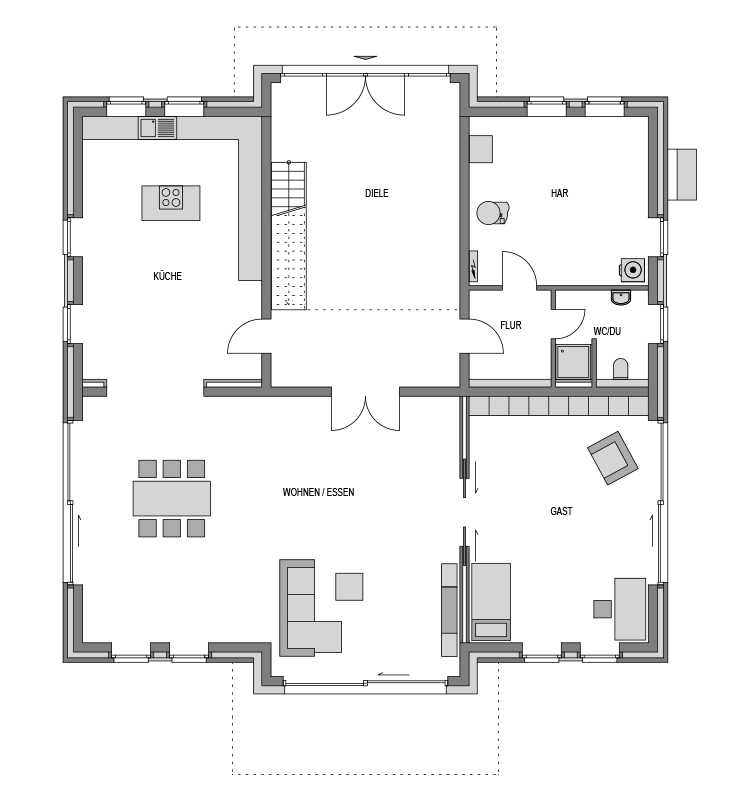 Der Grundriss Erdgeschoss des City 342 zeigt die interessante Raumaufteilung.