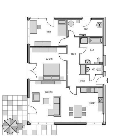 Der Grundriss Erdgeschoss des Bungalow 103 zeigt die interessante Raumaufteilung.
