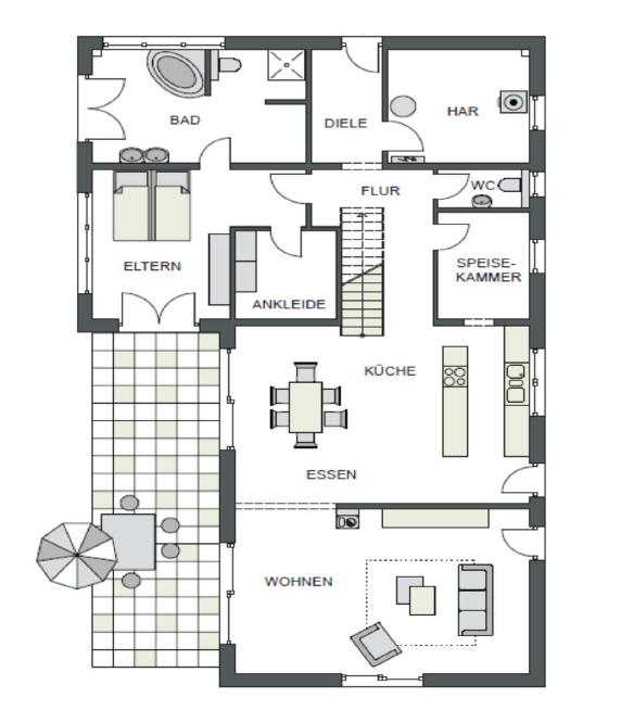 Der Grundriss Erdgeschoss des Vialla 245 zeigt die interessante Raumaufteilung.