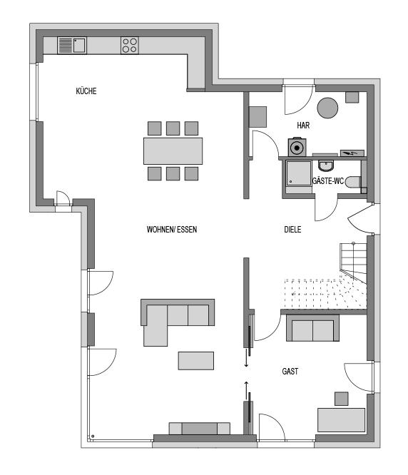 Der Grundriss Erdgeschoss des Vialla 298 zeigt die interessante Raumaufteilung.