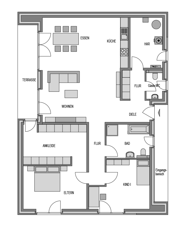 Der Grundriss Erdgeschoss des Bungalow 153 zeigt die interessante Raumaufteilung.