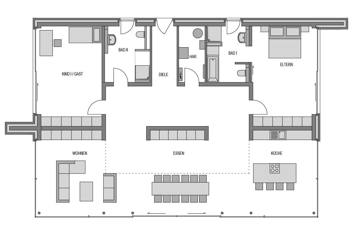 Der Grundriss Erdgeschoss des Bungalow 289 zeigt die interessante Raumaufteilung.
