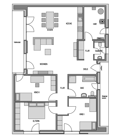 Der Grundriss Erdgeschoss des Bungalow 152 zeigt die interessante Raumaufteilung.
