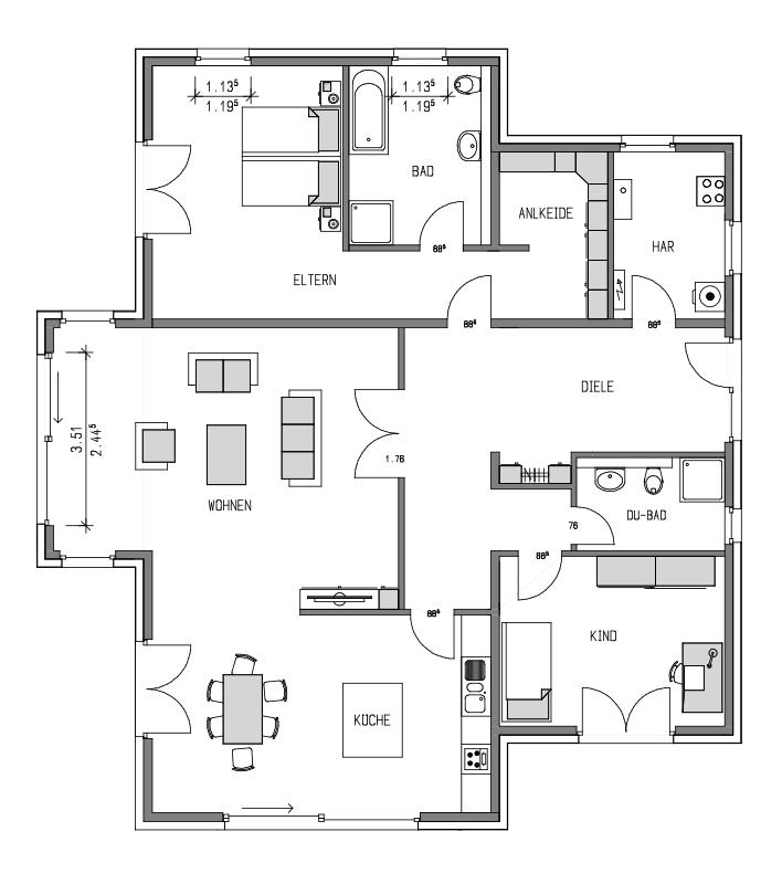 Der Grundriss Erdgeschoss des Bungalow 159 zeigt die interessante Raumaufteilung.