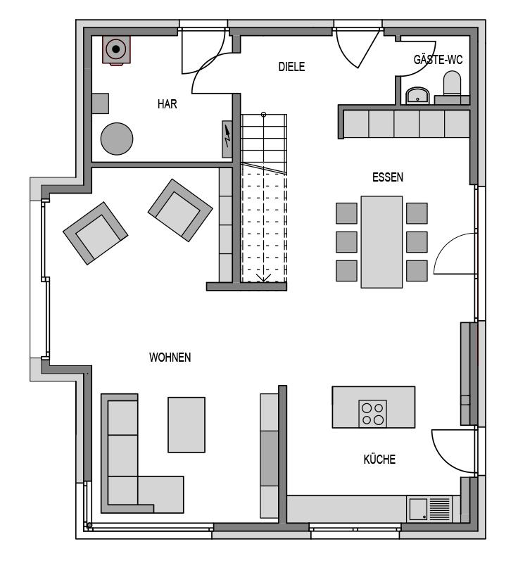 Der Grundriss Erdgeschoss des Vialla 170 zeigt die interessante Raumaufteilung.