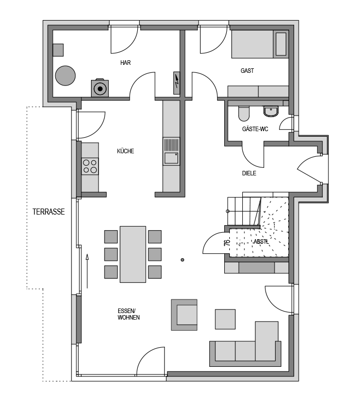 Der Grundriss Erdgeschoss des Vialla 194 Var.1 zeigt die interessante Raumaufteilung.