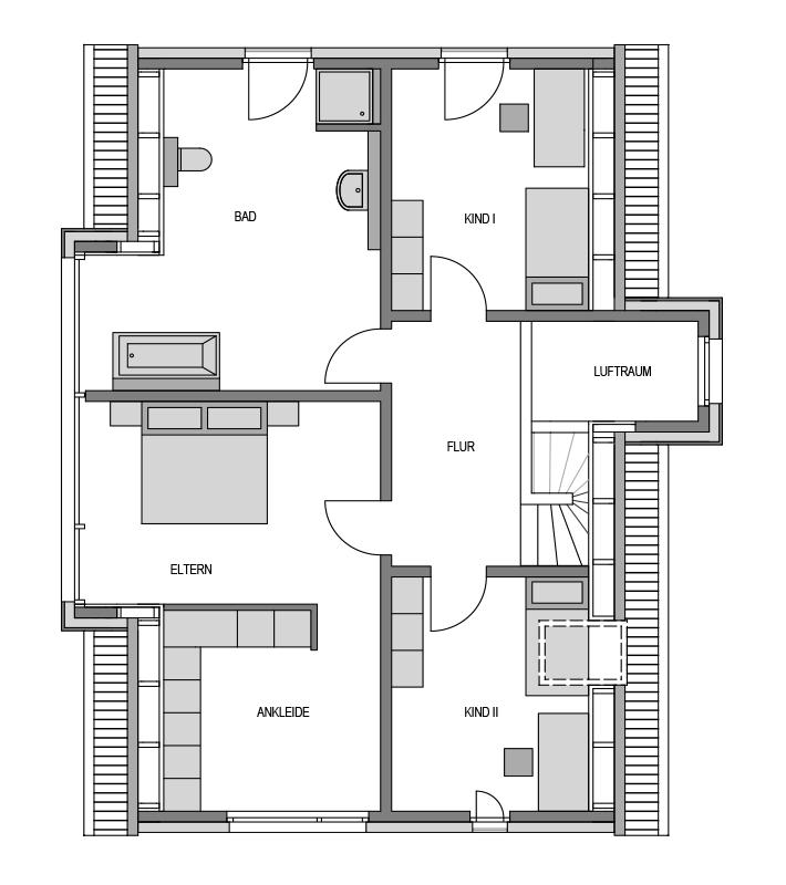 Der Grundriss Obergeschoss des Vialla 194 Var.1.