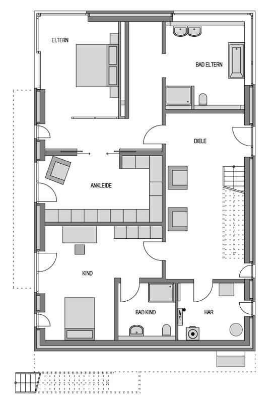 Der Grundriss Erdgeschoss des Vialla 300 zeigt die interessante Raumaufteilung.