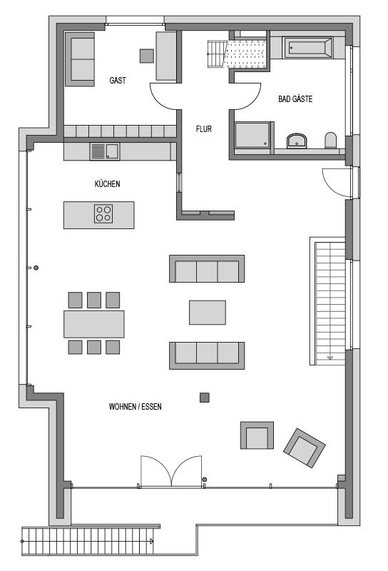 Grundriss Obergeschoss des Vialla 300.