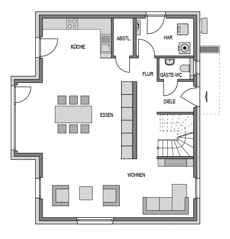 Der Grundriss Erdgeschoss des Vialla 176 zeigt die interessante Raumaufteilung.