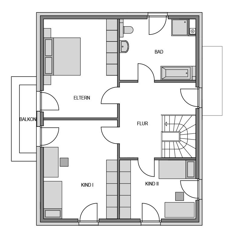 Der Grundriss Obergeschoss des Vialla 176.