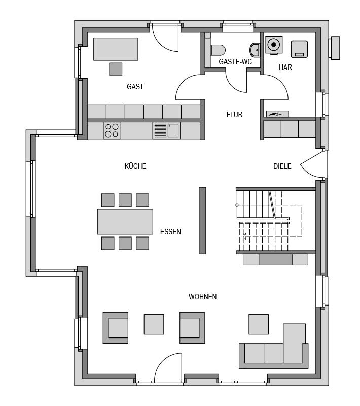 Der Grundriss Erdgeschoss des Vialla 207 zeigt die interessante Raumaufteilung.