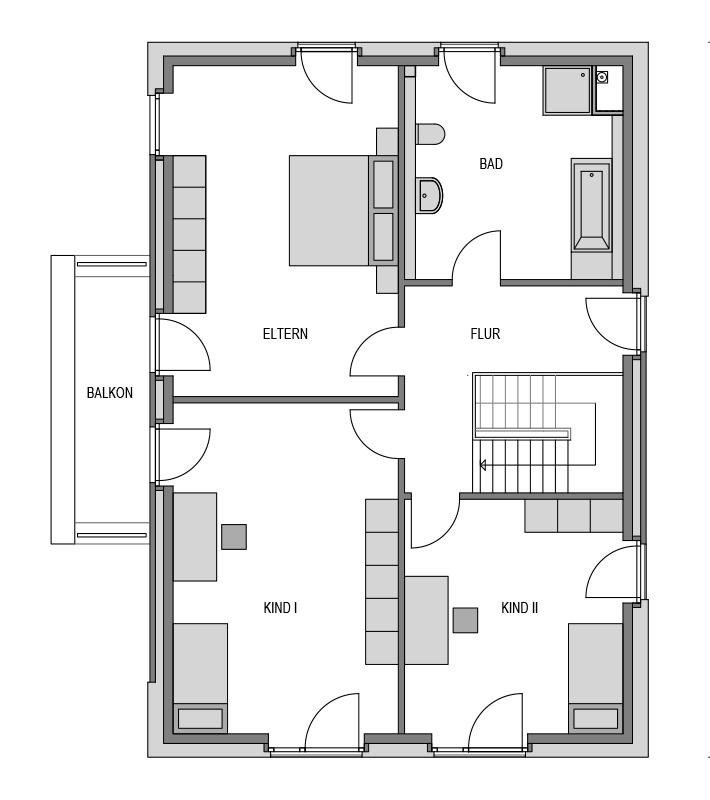 Der Grundriss Obergeschoss des Vialla 207.