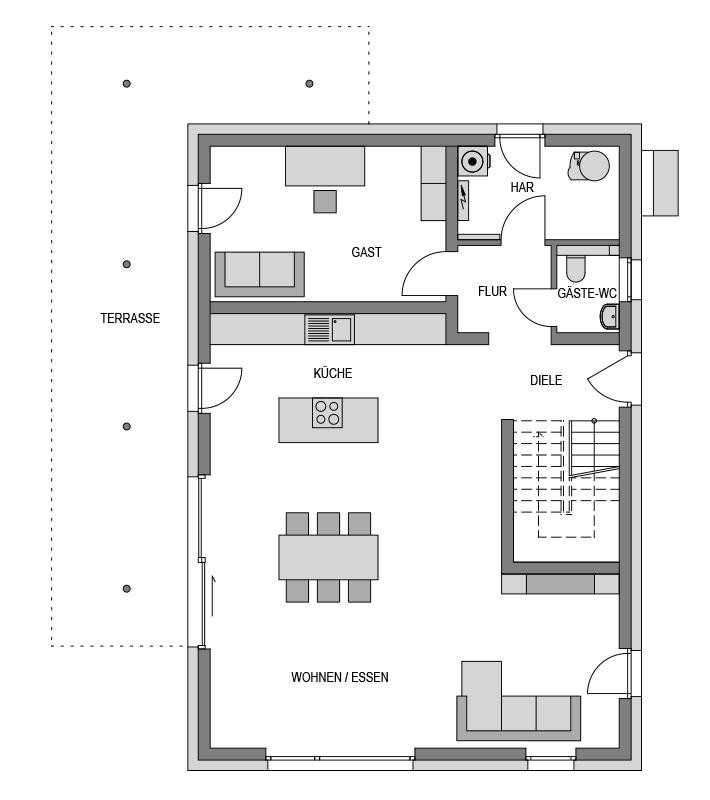 Der Grundriss Erdgeschoss des Vialla 223 zeigt die interessante Raumaufteilung.