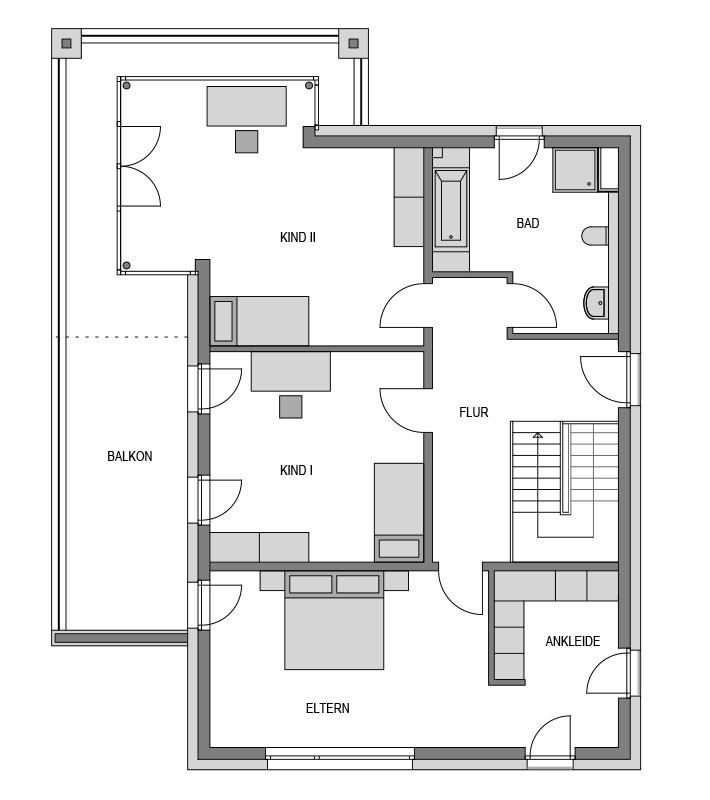 Der Grundriss Obergeschoss des Vialla 223.