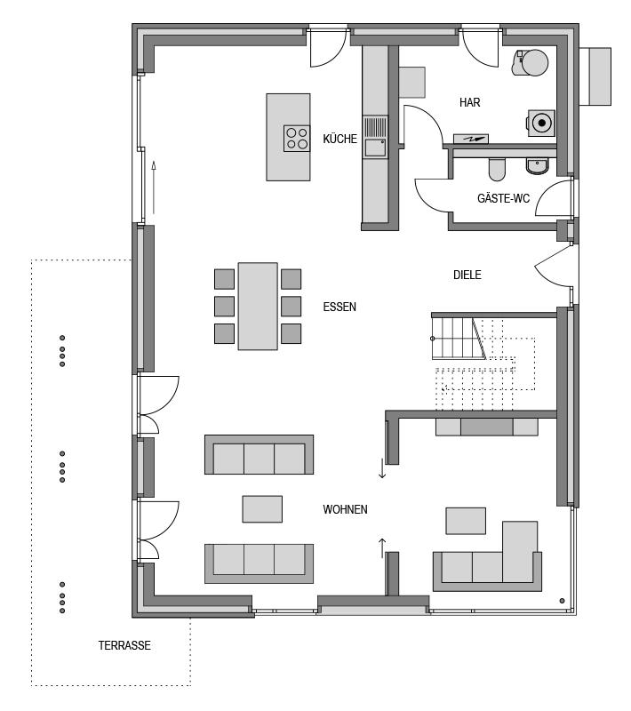 Der Grundriss Erdgeschoss des Vialla 257 zeigt die interessante Raumaufteilung.