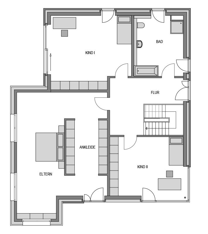 Der Grundriss Obergeschoss des Vialla 257.