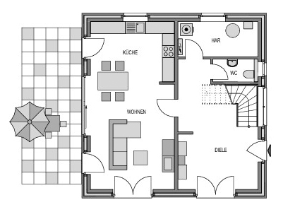 Der Grundriss Erdgeschoss des City 134 zeigt die interessante Raumaufteilung.
