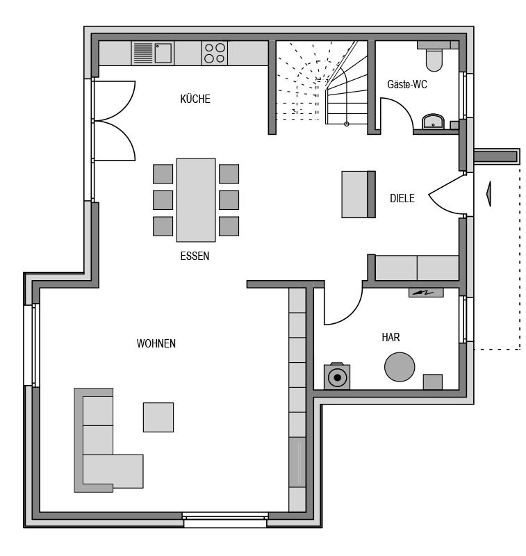 Der Grundriss Erdgeschoss des City 173 zeigt die interessante Raumaufteilung.