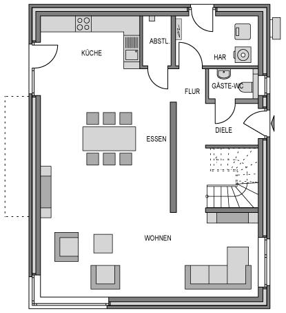 Der Grundriss Erdgeschoss des City 179 zeigt die interessante Raumaufteilung.