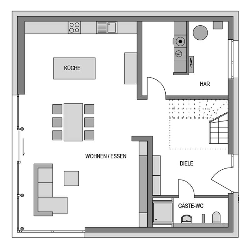 Der Grundriss Erdgeschoss des City 223 zeigt die interessante Raumaufteilung.