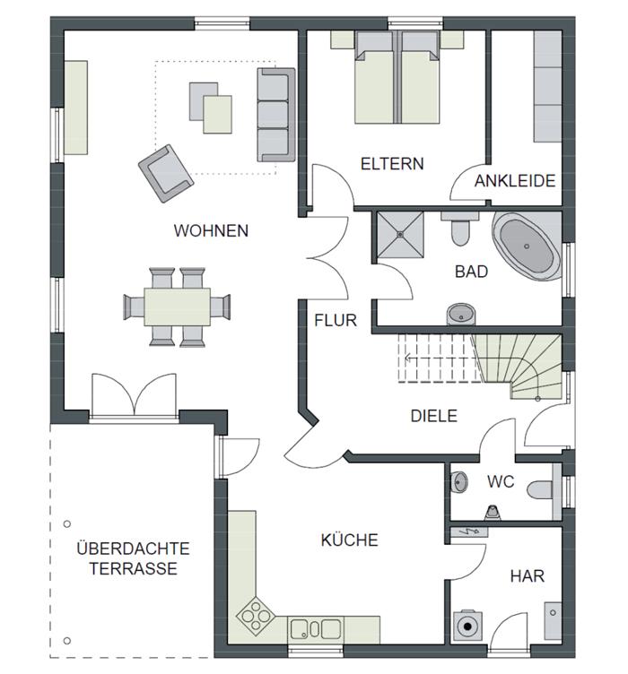 Der Grundriss Erdgeschoss des Bungalow 230 zeigt die interessante Raumaufteilung.