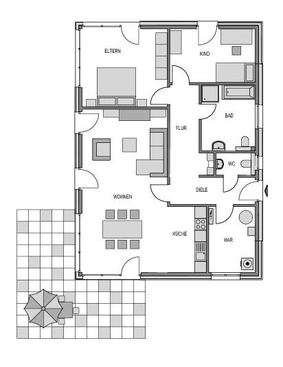 Der Grundriss Erdgeschoss des Bungalow 105 zeigt die interessante Raumaufteilung.