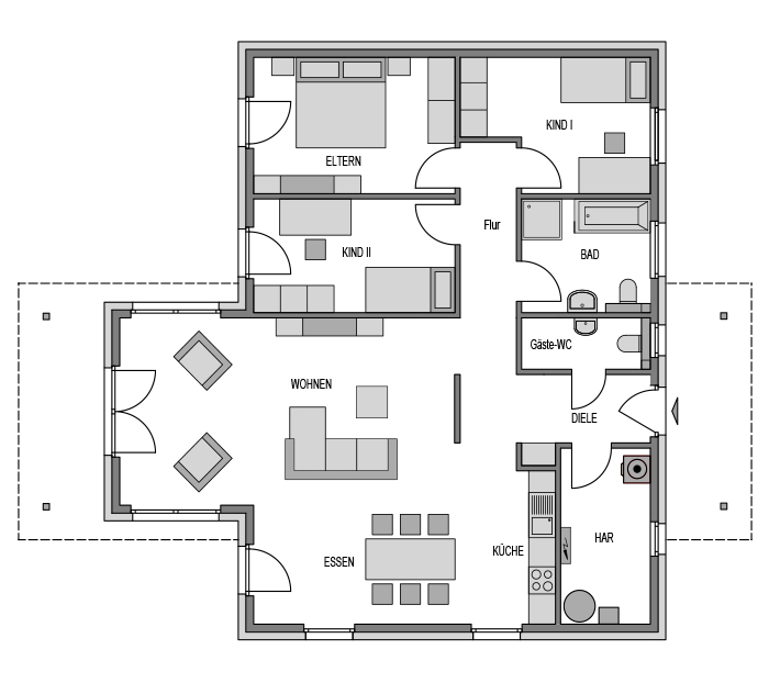 Der Grundriss Erdgeschoss des Bungalow 117 zeigt die interessante Raumaufteilung.