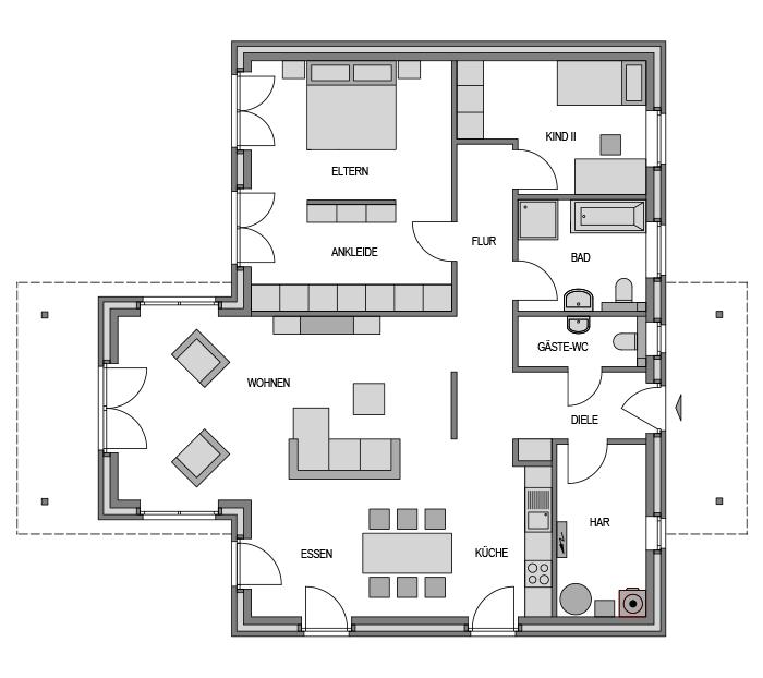 Der Grundriss Erdgeschoss des Bungalow 118 zeigt die interessante Raumaufteilung.