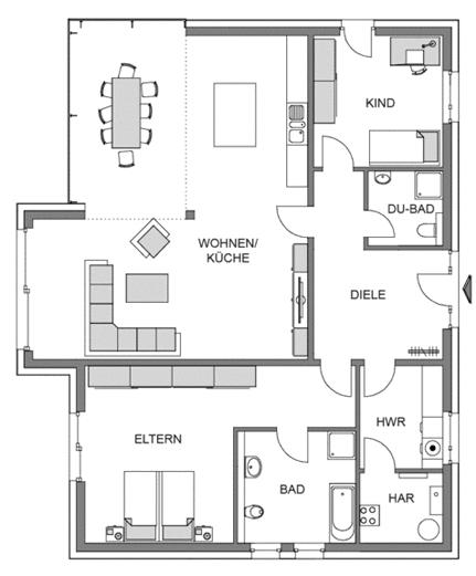 Der Grundriss Erdgeschoss des Bungalow 147 zeigt die interessante Raumaufteilung.