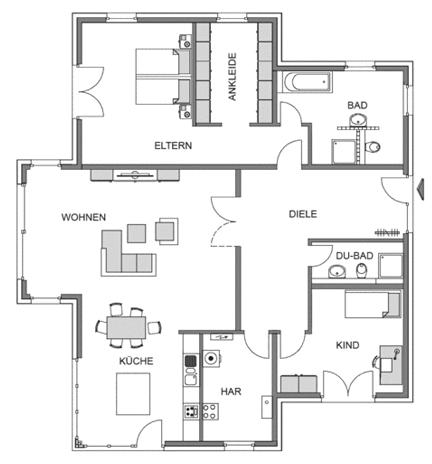 Der Grundriss Erdgeschoss des Bngalow 158 zeigt die interessante Raumaufteilung.